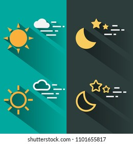 Day and night icon flat and line style with long shadow