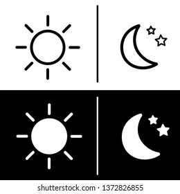 Day and night icon. The sun and moon with stars. Vector illustration in flat design outline stroke. White and black background.
