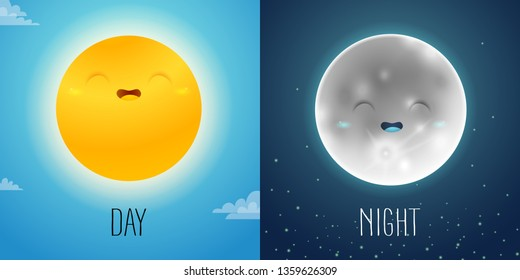 Day and night illustration with cute sun and moon characters on the sky background for night and day