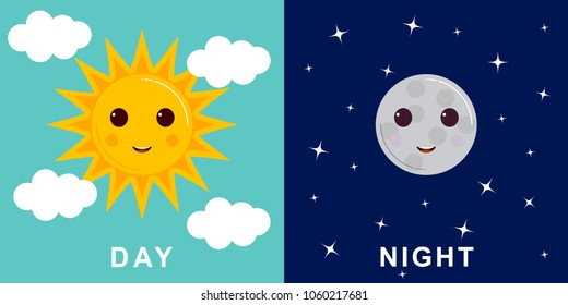 Day and night illustrations with funny smiling cartoon characters of sun and moon, clouds and stars