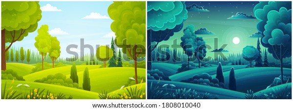 Day and night landscape with hills, forest, fir-trees, view at scenery with clear sky, full moon, summer fields with bushes and plants, nobody, ecological, non-urban, scene of countryside, wild