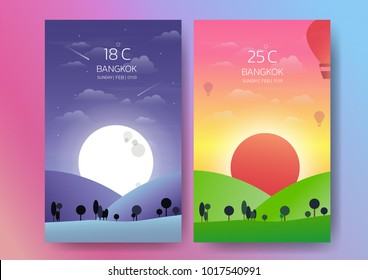 Day and night landscape illustration with sun,moon,hills,star,clouds,weather app,user interface design.