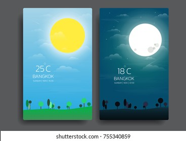 day and night landscape illustration with sun,moon,hills,star,clouds,weather app,user interface design