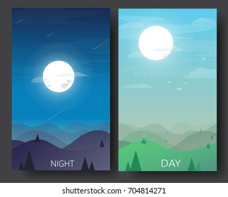 Day and night landscape illustrations with  mountains, hills ,star,trees,moon,sun vector-flat design