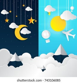 day and night landscape with paper art style illustration.