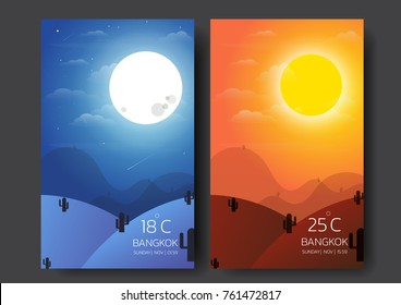 Day and night landscape,Desert Landscape with moon,sun,cactus,shooting star illustration vector-flat design