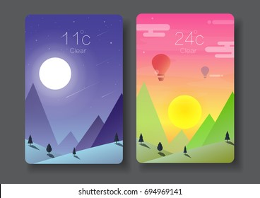day and night landscape,nature horizontal background,sunset,moon light with Weather Application User Interface Concept vector illustration-flat design