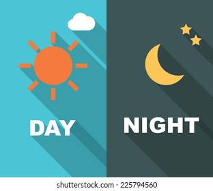 day and night long shadow flat, vector symbols
