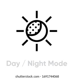 Day or Night Mode icon. Editable Line Vector. Concept of gadget interface switch to day or night mode isolated on white background. Single Pictogram.