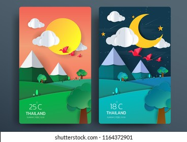 Day and Night nature landscape with paper art style, paper origami concept, moon, sun, clouds, birds, trees and mountain. vector illustrations.