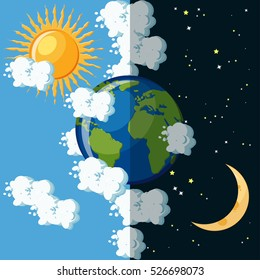 Day and night on the planet Earth concept. Sun on cloudy sky and moon on dark star sky around green and blue Earth globe. Educational geography for kids. Cartoon vector illustration in flat style.