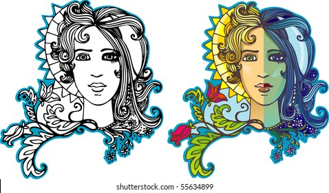 Day and night (Portrait two in one, a half of the face man's half female, the man - day, the woman - night)