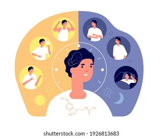Day night rhythm. Natural sleep, schedule day night. Melatonin sleeping people, morning evening activity. Healthy life balance cycle utter vector concept