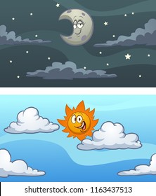 Day and night sky background. Vector clip art illustration with simple gradients. Some elements on separate layers.