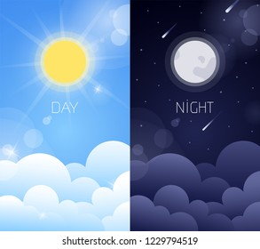 Day and night sky illustration with sun, clouds, moon and stars. Weather app screen, mobile interface design