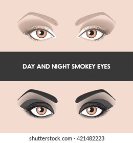 Day and night smokye eyes. Two different types of popular makeup smokey eyes. Brown and black smokey with shading. Evening and day makeup