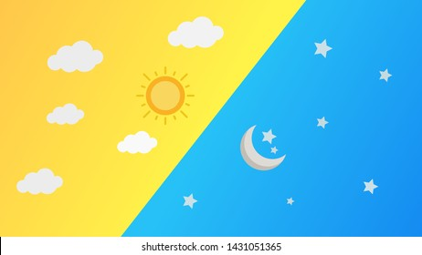Day and Night or Sun and Moon, abstract texture background for your design. Design by Inkscape.