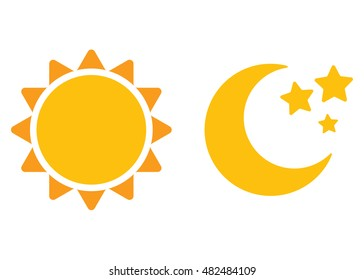 Day and night, sun and moon. Flat icons isolated on white background