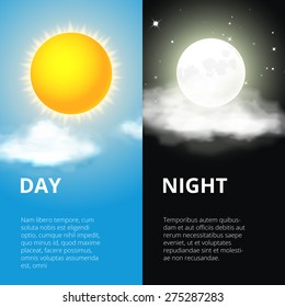 Day and night, sun and moon. Sky and weather, cloud and life, period and cycle, vector illustration
