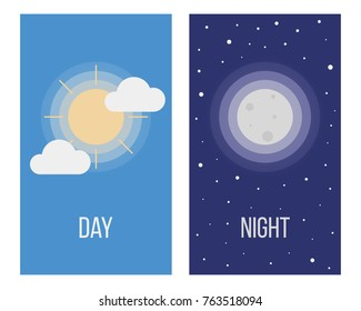 Day and Night. Sun and Moon. Vector illustration