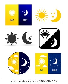 Day night theme. Set of vector illustration. Isolated on white background