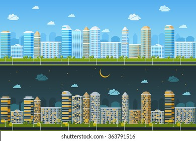 Day and night urban landscape. Building architecture, cityscape town, vector illustration