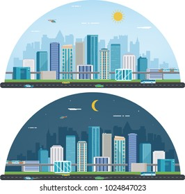 Day and night urban landscape. Modern city. Building architecture, cityscape town. Vector illustration