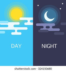 Day and night vector flat illustrations or banners. Sun and Moon.