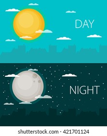 Day and night vector illustrations or banners. Sun and Moon