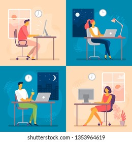 Day or night work. Working late, overtime office works and computer worker nights. Lark and owl workflow, professional businesswoman daily routine or businessman deadline flat vector illustration