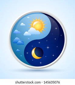 Day and night yin yang symbol on light blue background