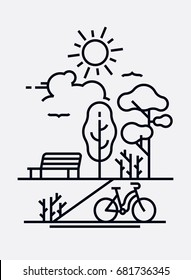 Day in the park vector concept. Lovely nature and outdoors themed primitive flat line landscape with sun, bench, trees and bicycle