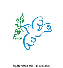Day of Peace. Vector dove with green branch. Hand draw naive illustration. Flat design.