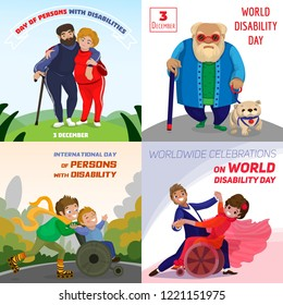 Day persons disabilities banner set. Cartoon illustration of day persons disabilities vector banner set for web design