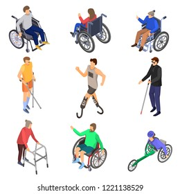 Day of persons with disabilities icon set. Isometric set of day persons disabilities vector icons for web design isolated on white background