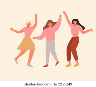 Day of Pink cartoon hand drawn style flat vector design illustration. Concept of ladies celebrate while wearing pink clothes. Support breast cancer Diverse Group Of Woman Disease Awareness Prevention.