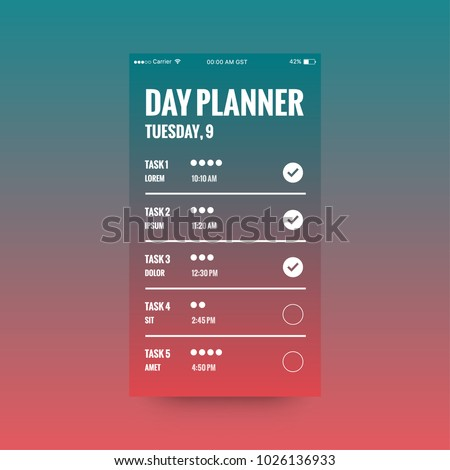 day planner app ux ui design stock vector royalty free 1026136933