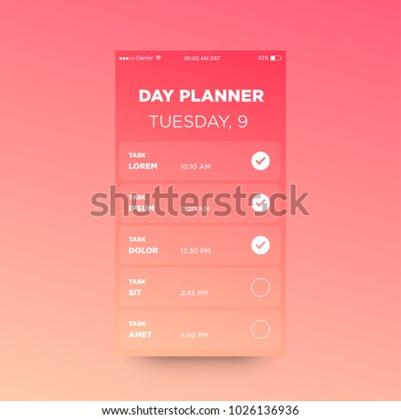 day planner app ux ui design stock vector royalty free 1026136936