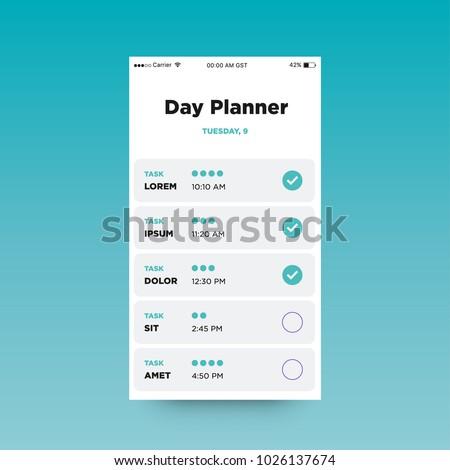 day planner app ux ui design stock vector royalty free 1026137674