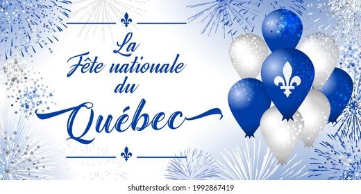 The Day of Quebec creative congrats concept. Decorative French typescript La Fete Nationale du Quebec, English translation National Quebec's Day. Isolated graphic design template. John the Baptist Day