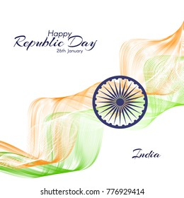The Day of the Republic in India Abstract background with wavy lines of colors of the national flag of India Template of invitations cards postcards on national holidays Creative design element Vector