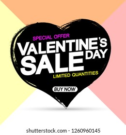 Valentine's Day Sale, banner design template, discount poster, grunge brush, special offer, vector illustration