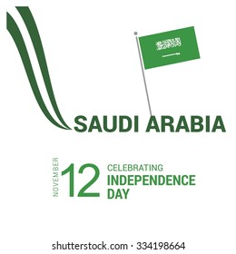 The Day of Saudi Arabia, Vector Saudi Arabian Independence Day Celebrating 12 November Celebration Card. Creative lines background and typography. Illustration