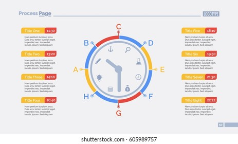 day schedule clock slide template stock vector royalty free