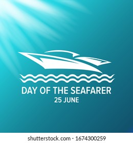 Day of the seafarer 25 june. Vector silhouette of yach or boat isolated on turquoise under water background