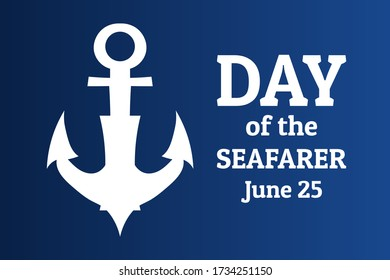 Day of the Seafarer. June 25. Holiday concept. Template for background, banner, card, poster with text inscription. Vector EPS10 illustration