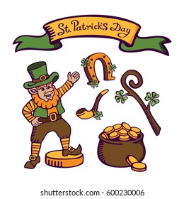 St.Patrick's day set. Cute leprechaun on big coin near with money pot, smoking pipe, horseshoe and staff. Vector images for postcards, cartoons, wallpapers, games, linen and clothing