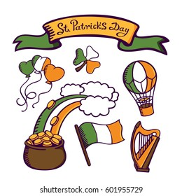 St.Patrick's day set. Irish flag with harp, rainbow, clovers, money pot and baloons. Lettering St.Patrick's Day. Vector images for your business and design. For postcards, cartoons, linen and clothing
