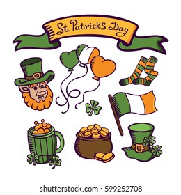 St.Patrick's day set. Leprechaun's head with cap, socks, Irish flag, beer, clover, pot of gold. Vector images for postcards, cartoons, wallpapers, games, linen and clothing