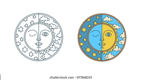 Day of spring equinox and autumn equinox. Chunfen. Sun and Moon with faces on clouds and stars background. Line flat vector illustration